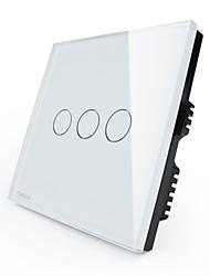 Недорогие -livolo британскому стандарту цифровой коммутатор сенсорный света, 110 ~ 250 В, 3 банды 1way, стекло панели с белым / черным / золотого цвета