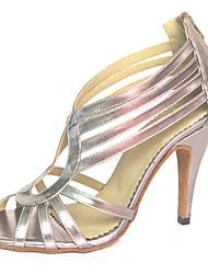 cheap -Women's Latin Shoes Leatherette Sandal Zipper Stiletto Heel Non Customizable Dance Shoes Pink / Silver