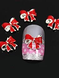 10pcs bowknot vezes vermelho diy unha arte decoração