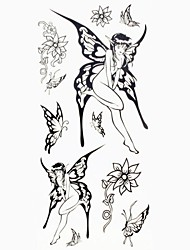 1pc Black Butterfly Genie Waterproof Tattoo Sample Mold Temporary Tattoos Sticker for Body Art(18.5cm*8.5cm)