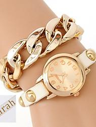 Недорогие -персональный подарок женская двухслойная пленка пу кожаный браслет аналоговый выгравированы часы с горный хрусталь