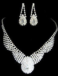 lega splendida con set il ceco nozze strass gioielli da sposa, tra cui collane e orecchini