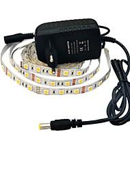 jiawen® 2.5m 12w 150x5050smd 6000-6500k bianco ha condotto la luce di striscia flessibile di alimentazione + 2 bis (CA 110-240V)