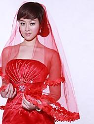 Uma Camada Véus de Noiva Véu Cotovelo Peça para Cabeça com Véu Com Apliques 59,06 in (150cm) Organza