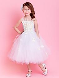 Kids' Dancewear Dresses Tutus Children's Training Polyester Tulle Sash/Ribbon Flower(s) Sleeveless Natural