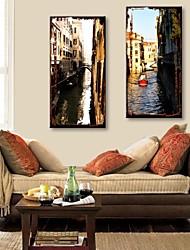 e-FOYER toile tendue art canal de la ville la peinture décorative ensemble de deux