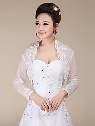 cheap -Long Sleeves Lace Wedding Party Evening Wedding  Wraps With Sequin Coats / Jackets