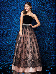 cheap -Ball Gown Strapless Floor Length Lace Velvet Prom Formal Evening Dress with Lace Crystal Brooch by TS Couture®
