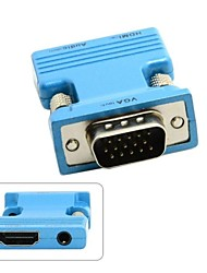 abordables -HDMI hembra a VGA macho& adaptador de salida de audio para PC proyector macbook laptop monitor azul / oro