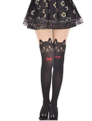 cheap -Thigh High Socks Socks / Long Stockings Sweet Lolita Dress Lolita Princess Women's Lolita Accessories Solid Cat Bowknot Stockings Velvet