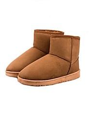 baratos -Mulheres Sapatos Courino Outono / Inverno Salto Baixo 10.16-15.24 cm / Botas Curtas / Ankle Preto / Marrom / Azul