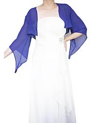 Wraps casamento Casacos / Jaquetas 3/4 de Manga Chifon Azul Royal Casamento / Festa Aberto à Frente