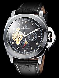 abordables -FORSINING Homme Montre Bracelet Gravure ajourée Cuir Bande Charme Noir / Remontage automatique