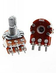 baratos -duplex potenciômetro duplo união 6 pinos b50k 15 milímetros cabo longo (5pcs)