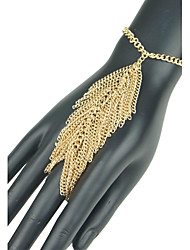 cheap -Women's European Leaf Shape Tassel Hand Chain Ring Bracelet