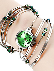 abordables -Personalized Fashionable Women's Watch Silver Steel with Beads Bracelet