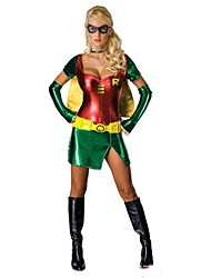 cheap -Super Robin Girl Green & Red Polyester Women's Halloween Costumefor Carnival