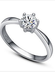 Women's Silver Wedding Ring With Cubic Zirconia Classical Feminine Style