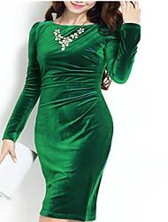Недорогие -Жен. Изысканный Облегающий силуэт Платье - Однотонный, Рюши