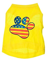 cheap -Cat Dog Shirt / T-Shirt Dog Clothes American/USA Yellow Cotton Costume For Pets