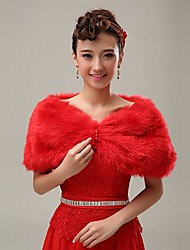 Fur Wraps / Wedding  Wraps / Women's Wrap Shrugs Faux Fur Red Wedding / Party/Evening / Office & Career / Casual Off-the-shoulderRuffles