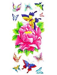 Недорогие -многоцветный - Тату с цветами - Временные тату - для Женский/Girl/Взрослый/Подростки - #(1) - #(18.5*8.5) - С рисунком/Waterproof - Бумага