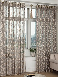 cheap -Sheer Curtains Shades Bedroom Leaf Polyester Jacquard