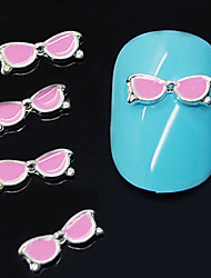 10pcs óculos cor de rosa forma liga 3d arte decoração de unhas