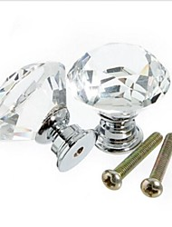 cheap -10pcs 3cm Crystal Glass Cabinet Knob Drawer Pull Handle for Door Wardrobe