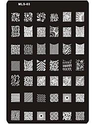 economico -pre-progettato nail art stampaggio piatto di immagine del chiodo del modello di arte del chiodo stencil n ° 3