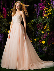 cheap -A-Line Strapless Court Train Tulle Wedding Dress with Crystal Beading by LAN TING BRIDE®