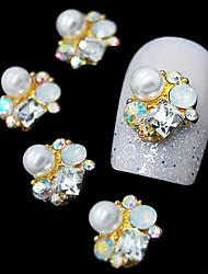 preiswerte -10pcs 3d goldene Mode-Legierung Perle Strass Nagelkunstdekoration