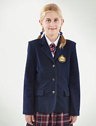 preiswerte -Schuluniformen Mädchen navy zwei Taschen Blazer