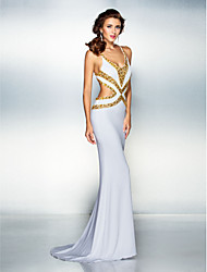 Mermaid / Trumpet V-neck Sweep / Brush Train Jersey Prom Formal Evening Dress with Beading Crystal Detailing by TS Couture®