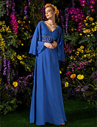 cheap -A-Line V-neck Floor Length Chiffon Mother of the Bride Dress with Beading Crystal Detailing Side Draping by LAN TING BRIDE®