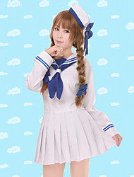 cheap -Inspired by Wadanohara Cosplay Anime Cosplay Costumes Cosplay Suits Solid Long Sleeves Top Skirt Sleeves Hat For Female