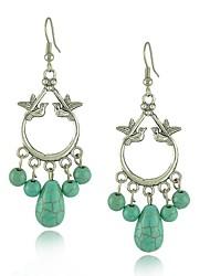 caráter chinês jóias de prata antique um par de pássaros do amor contas de turquesa brincos
