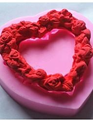 u obliku srca ljubav vijenac Fondant tortu silikonska kalupa tortu ukras alati, l7.2cm * w7.1cm * h1.4cm