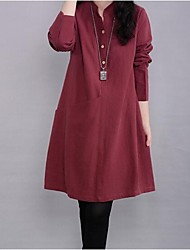 Women's Mock Neck Plus Size Long Sleeve Dress (More Colors)