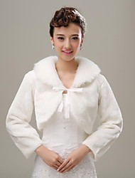 Fur Wraps / Wedding  Wraps Coats/Jackets 3/4-Length Sleeve Faux Fur Ivory Wedding / Party/Evening Lace-up