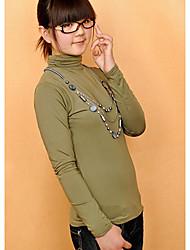 billige -Dame-Ensfarvet Basale T-shirt