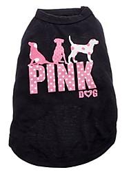 billige -Kat Hund T-shirt Hundetøj Bogstav & Nummer Tegneserie Sort Bomuld Kostume For kæledyr Cosplay Bryllup