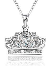 cheap -Cremation Jewelry 925 sterling silver Imperial Crown with Zircon Pendant Necklace for Women