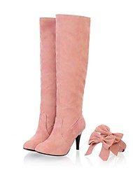 cheap -Women's Shoes Leatherette Fall / Winter Stiletto Heel 35.56-40.64 cm / Knee High Boots Bowknot Pink / Blue / Beige