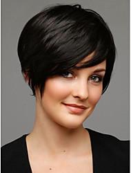 economico -senza tappo grado superiore caschetto corto parrucca sintetica capelli lisci e neri per le donne