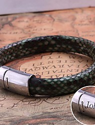 cheap -Personalized Gift  Leather Rope Bracelet Stainless Steel Engraved Jewelry