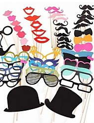 Wedding Décor 51 PCS Card Paper Photo Booth Props Party Fun Favor (Including Glue and Sticks)