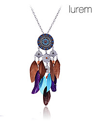 Недорогие -Жен. Перо форма Мода Ожерелья с подвесками Перья Сплав Ожерелья с подвесками Для вечеринок Бижутерия
