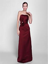 abordables -Vaina / columna sin tirantes palabra de longitud vestido de dama de honor de satén con flor de perlas (s)