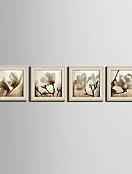 cheap -Floral/Botanical Fantasy Framed Canvas Framed Set Wall Art,PVC Material Beige No Mat With Frame For Home Decoration Frame Art